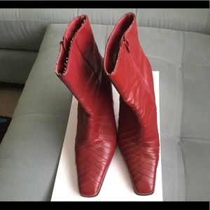 Red heeled boots Size 10